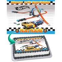 "HOT WHEELS Race Car Edible Cake Image Topper Personalized Picture 1/4 Sheet (8""x10.5"")"