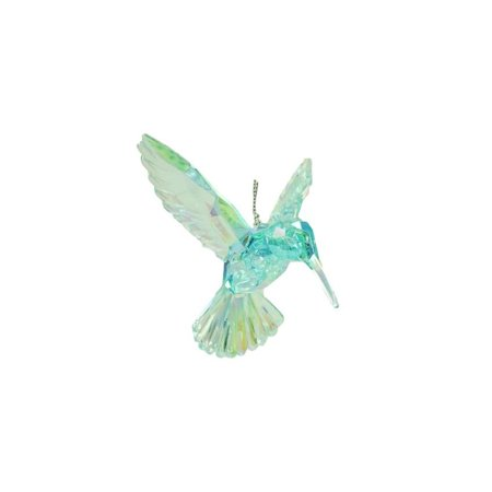 4 blue iridescent acrylic hummingbird christmas ornament