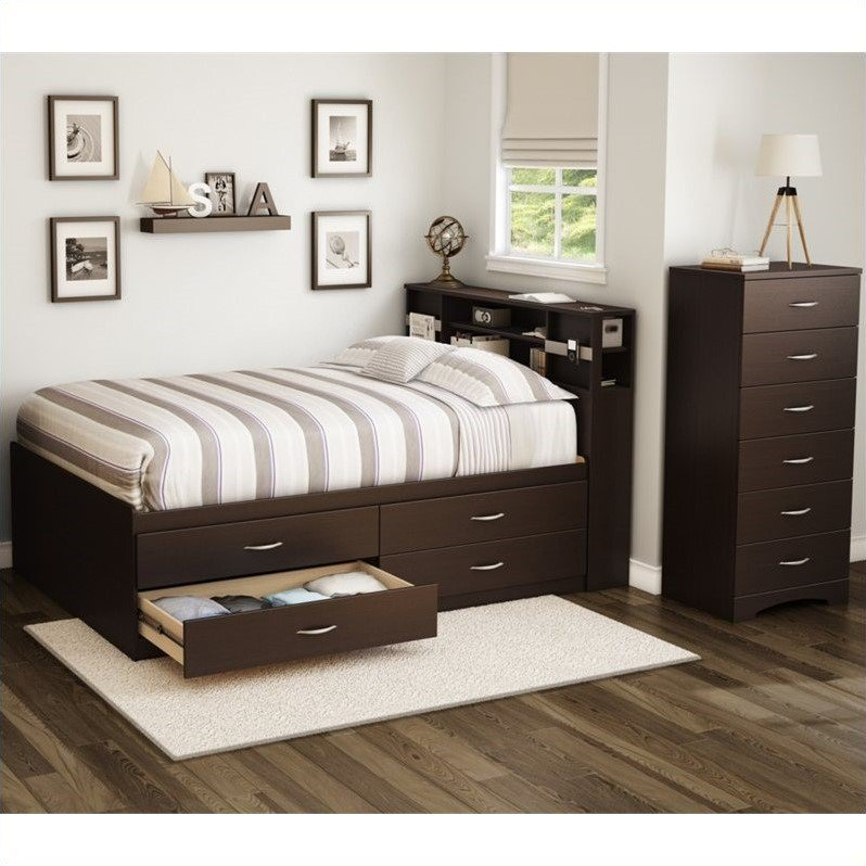 south shore back bay 3 piece full captains bedroom set in