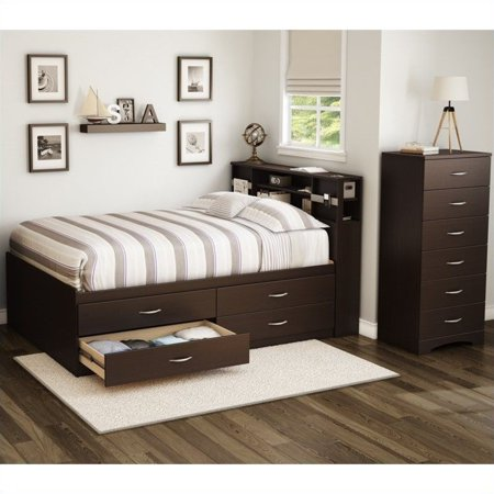 South Shore Back Bay 3 Piece Full Captains Bedroom Set in Chocolate