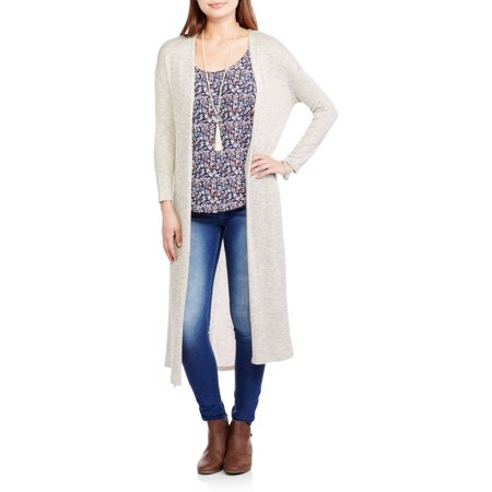 Poof! Juniors' Marled Long Sleeve Duster Cardigan - Walmart.com