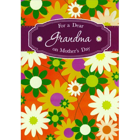 Designer Greetings Green, White and Gold Flowers: Grandma Mother's Day Card