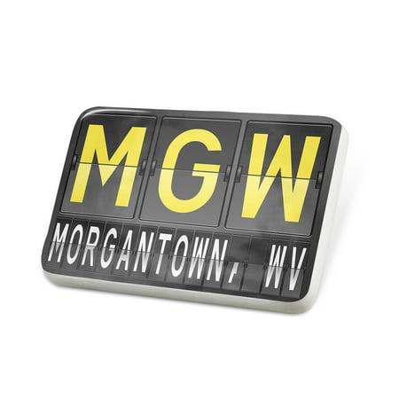 Porcelein Pin MGW Airport Code for Morgantown, WV Lapel Badge –