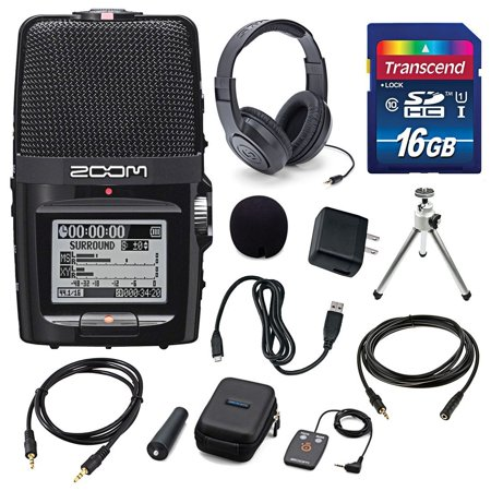 Zoom H2n Handy Portable Digital Audio Recorder with Samson Stereo Headphones and Accessory Bundle ()