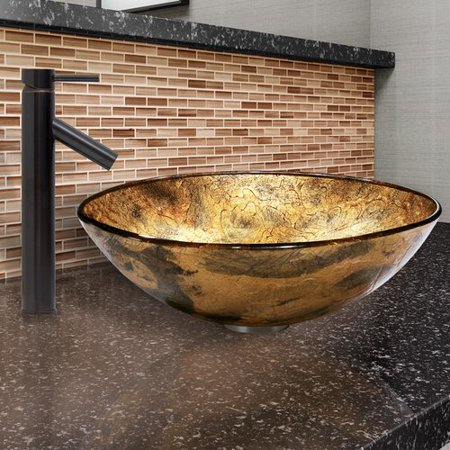 VIGO  Copper Shapes Glass Vessel Sink  and Dior Faucet Set in Antique Rubbed Bronze -