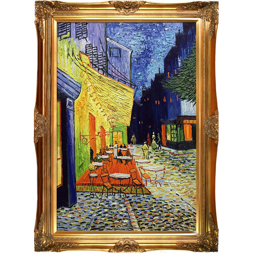 Tori Home 'Cafe Terrace at Night' by Vincent Van Gogh Framed Wall Art on Canvas
