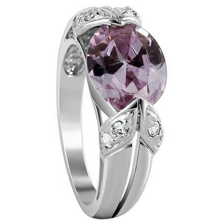 Gem Avenue 925 Sterling Silver Oval Lavender Color Cubic Zirconia - Lavender Ice Ring