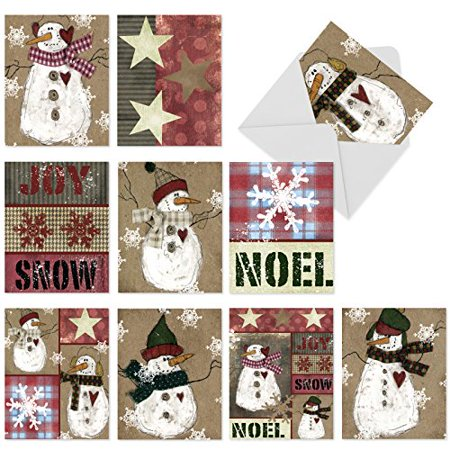 'M6063 M6063 Snow Folks' 10 Assorted Merry Christmas Note Cards Featuring Snowman And Winter Themes Rendered In A Folk-Art Style with Envelopes by The Best Card Company