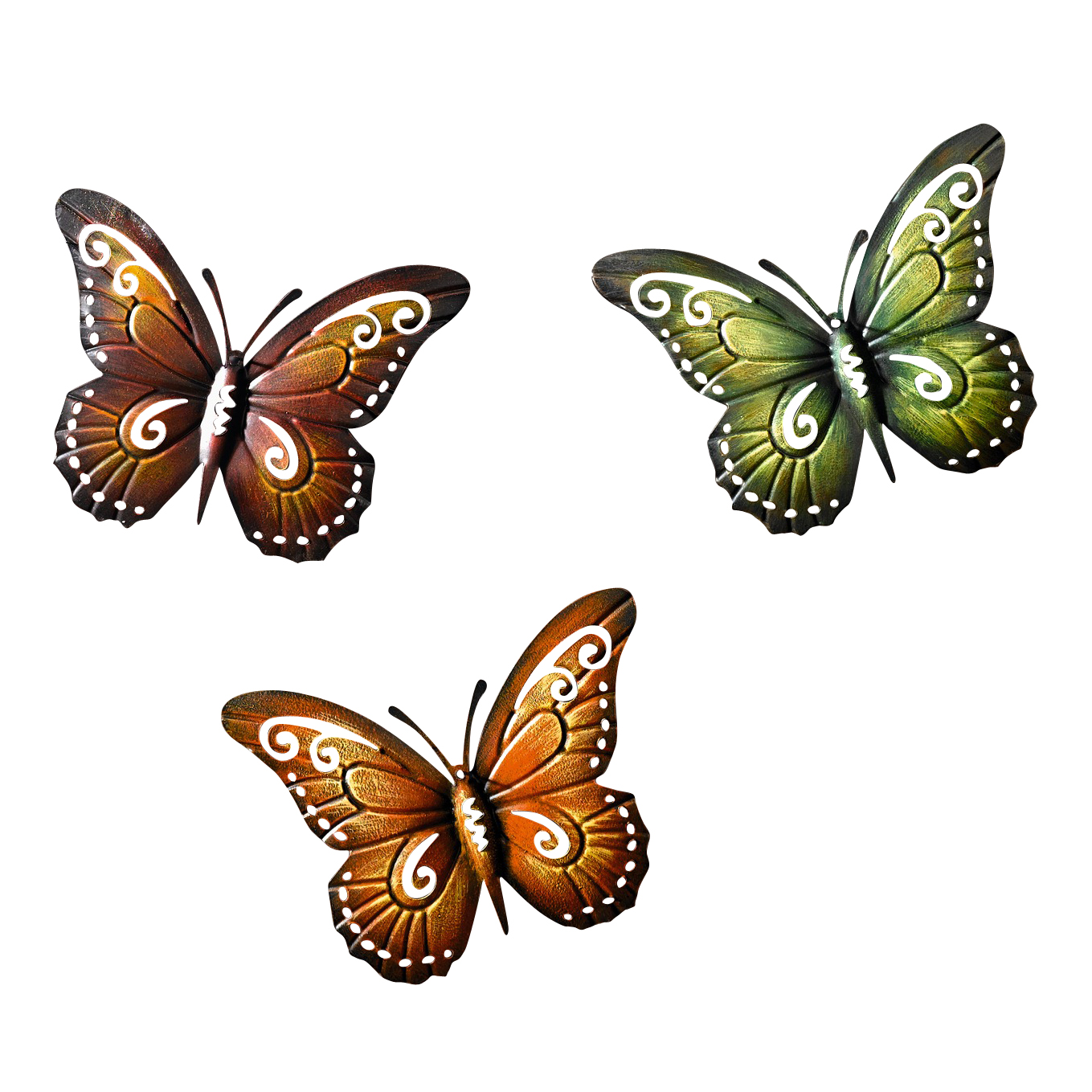 Metal Butterfly Wall Decor Colored Metal Butterflies, Set of Three Wall Artwork by Kozy Life