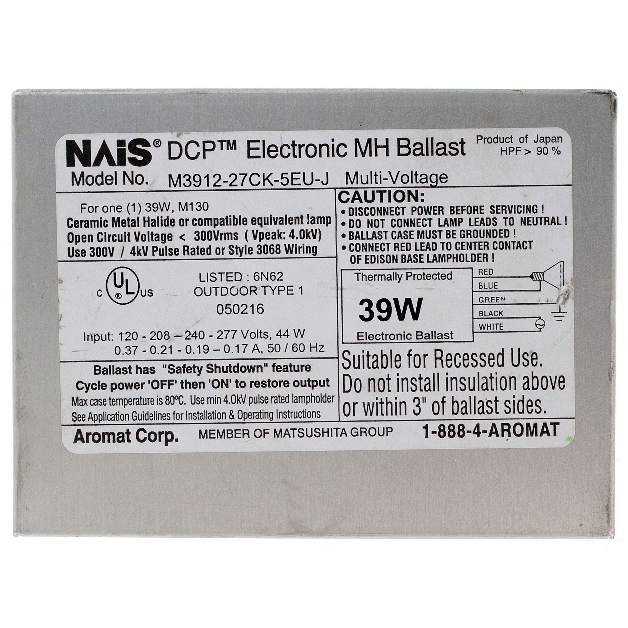 Universal M3912 27ck 5eu J Dcp Electronic Cereamic Metal Halide 277 Volt Ballast Wiring 39w M130 120 208 240 277v
