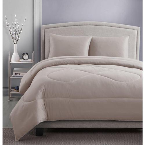 RBX 3-piece Microfiber Solid Color Comforter and Sham Set Full/Queen Taupe