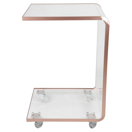 Fox Hill Trading Acrylic C Shape Accent Table with Casters