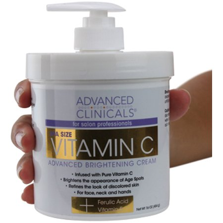 Advanced Clinicals Vitamin C Cream. Advanced Brightening Cream. Anti-aging cream for age spots, dark spots on face, hands,