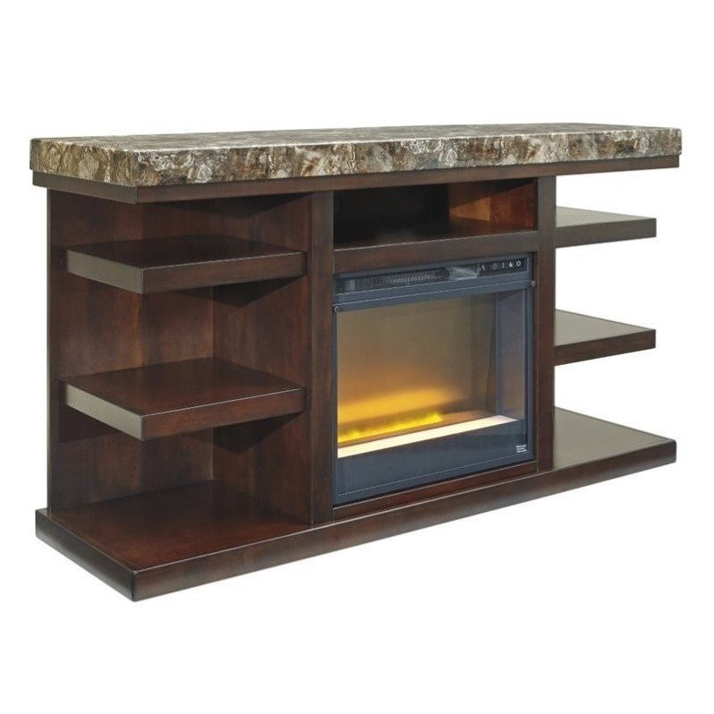 "Ashley Kraleene 60"" TV Stand with Glass Fireplace Insert"