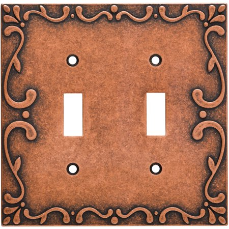 Franklin Brass Classic Lace Double Switch Wall Plate in Sponged - Copper Rustic Switchplate