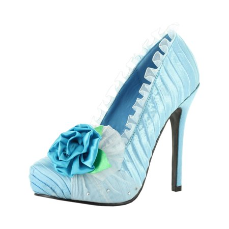 0645ae14212 SummitFashions - Pale Blue Pumps Women s Satin 5 Inch Heels with Floral and  Rhinestone Details - Walmart.com