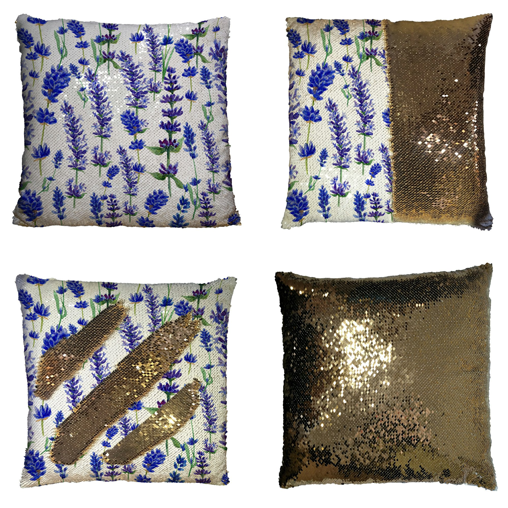 GCKG Purple Flower Floral Pillowcase, Watercolor Lavender Seamless Pattern Reversible Mermaid Sequin Pillow Case Home Decor Cushion Cover 16x16 inches