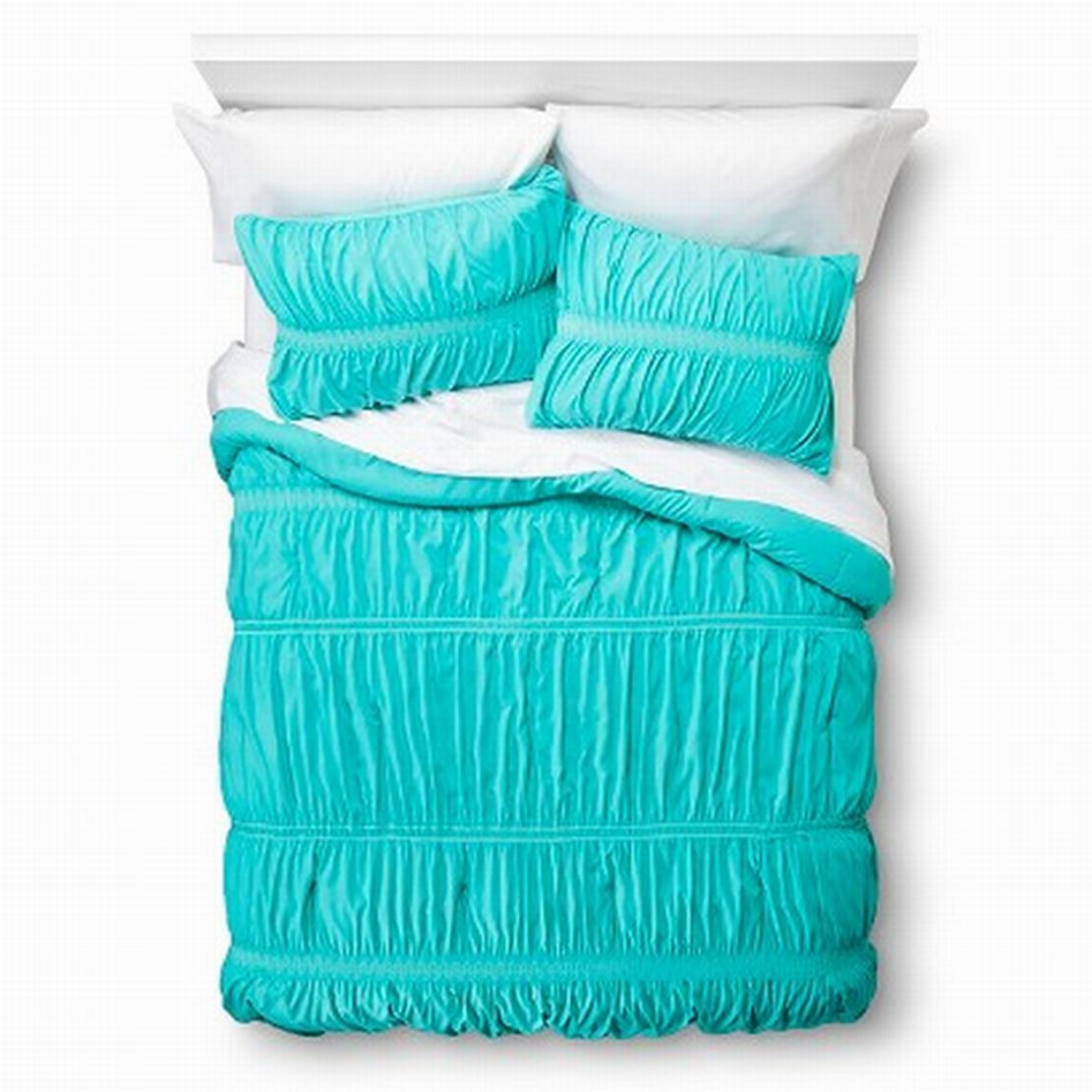 Xhilaration Full Queen Turquoise Blue Sheared Ruched Comforter & Shams Set