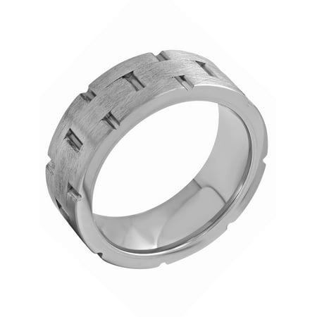 Men's Tungsten 8MM Brick Pattern Wedding Band - Mens Ring
