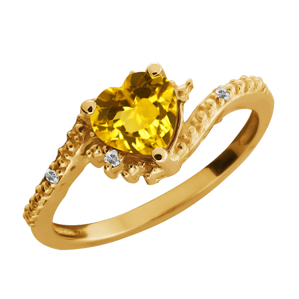 0.74 Ct Heart Shape Citrine and Topaz Gold Plated Silver Ring