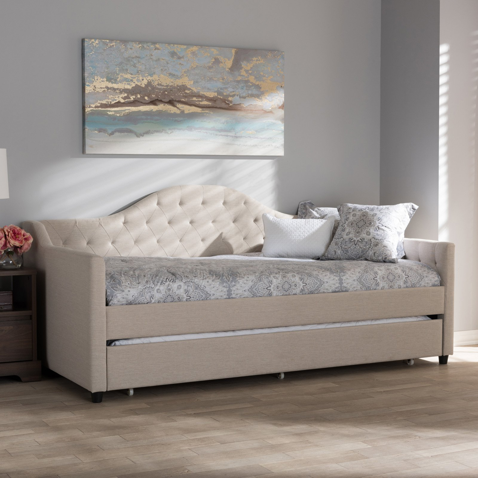 - Baxton Studio Perry Twin Size Modern And Contemporary Daybed With