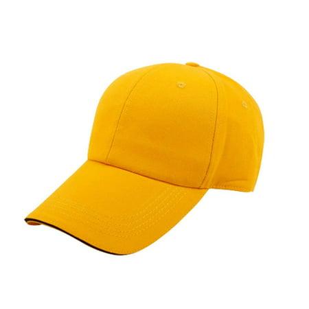 Pro Space Cotton Adjustable Flat Caps Work Hat Baseball Unisex Plain Hat (Yellow)