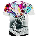Men`s Casual Short Sleeve 3D Creative Graffiti Print Hip Hop Style T-Shirts