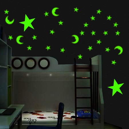 100pcs 3D Moon and Stars Glow Night Sky Wall Art Decal Sticker Design for Baby Kids Home Bedroom Decal Mural Decoration DIY (Baby Mural)