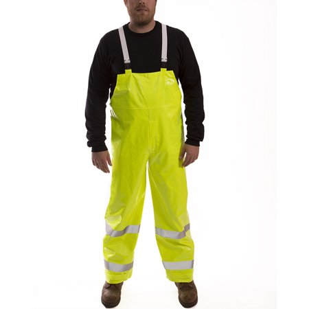 Tingley 4X Fluorescent Yellow/Green Comfort-Brite 14 mil PVC And Polyester Class E Level 2 Flame Resistant Rain Bib Overalls With Fly Front And Snap Closure And Silver Reflective Tape