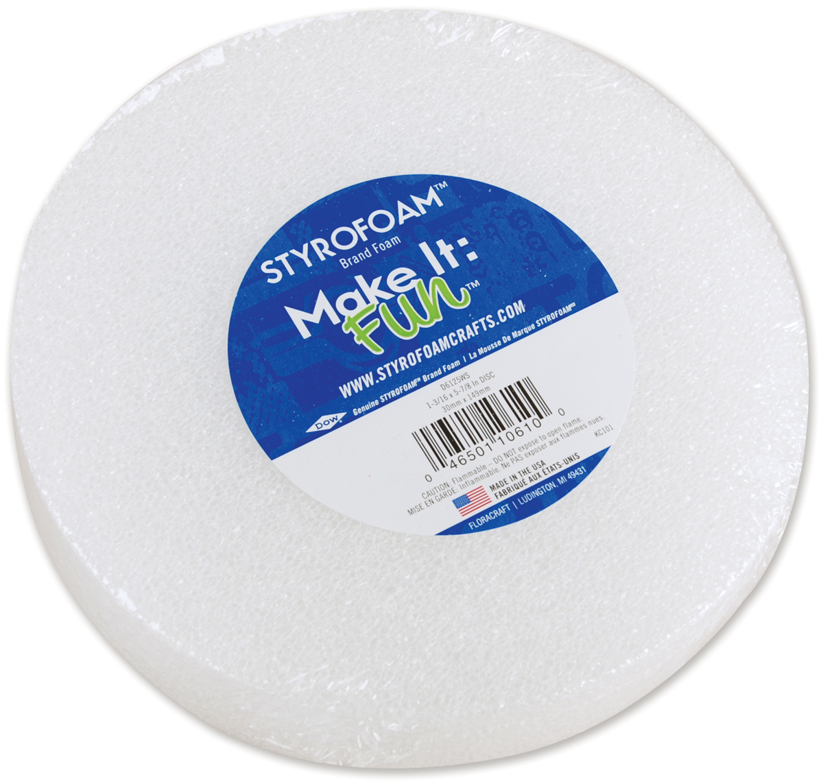 "White Styrofoam Disc, 5-7/8"" x 1-3/16"""