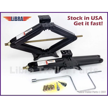 "Set of 2 5000 lb 24"" RV Trailer Stabilizer Leveling Scissor Jacks w/handle & 2 Power Drill Sockets & hareware-26020"