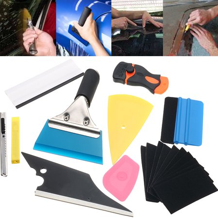 10Pcs Film Wrap Tint Tinting Tools Auto Window Scraper Car Vehical Wrapping Application Kit Sticker Vinyl Sheet Squeegee (Squeegee Kit)
