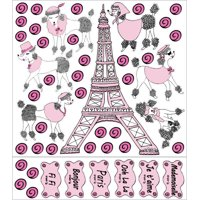 Poodles in Paris Wall Decals Stickers / Eiffel Tower Paris Wall Decor