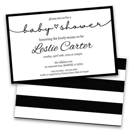 Personalized Classic Black and White Striped Baby Shower Invitations