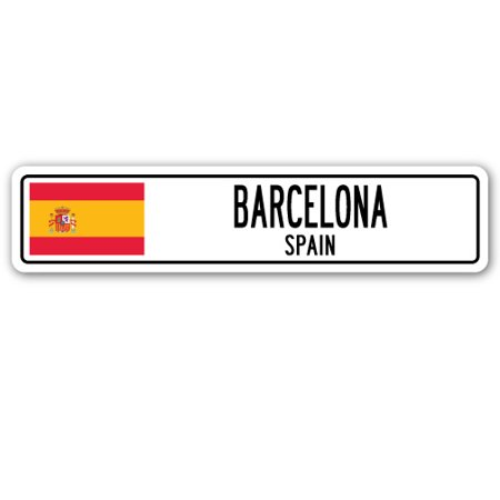 BARCELONA, SPAIN Street Sign Spaniard flag city country road wall gift