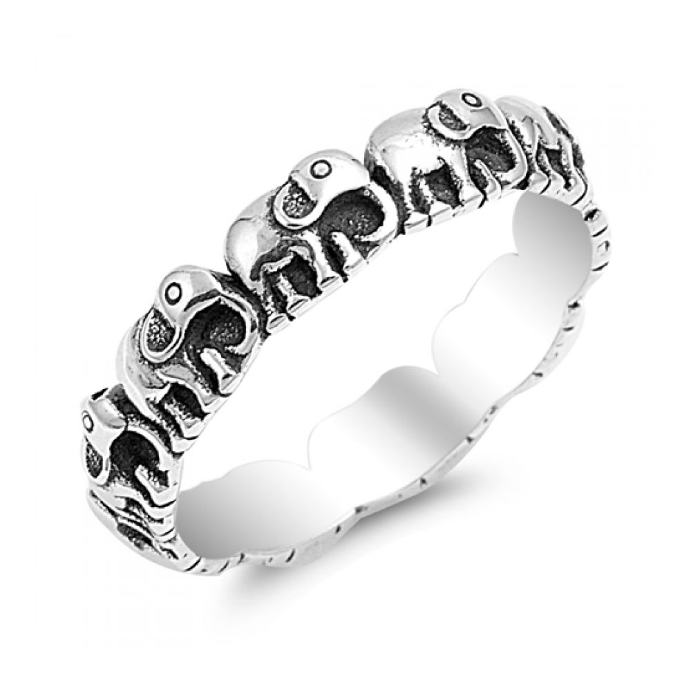 925 Sterling Silver Elephants Ring