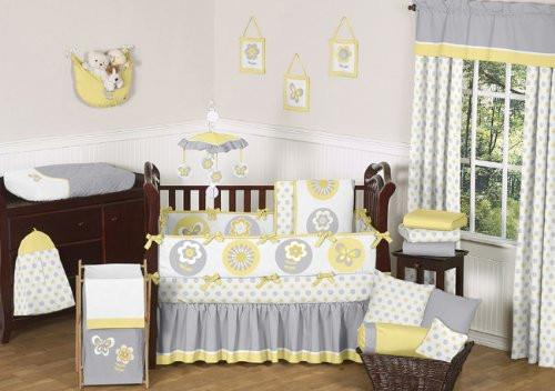 Yellow Gray and White Mod Garden Floral Window Treatment Panels Set of 2 by