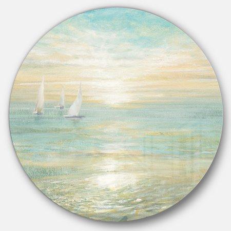 Designart 'Sunrise Boat I' Nautical & Coastal Metal Circle Wall Art - image 3 de 3