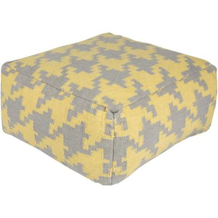 24 Lemon Yellow And Gray Houndstooth Wool Rectangular Pouf Ottoman