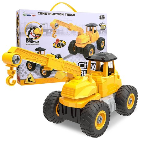 Take Apart Toys City Construction 4 in 1 Take-A-Part Trucks Vehicle Kids DIY Stem Educational Engineering Toy Set Include Crane Excavator, Drilling Crusher and Roll Clamp F-174