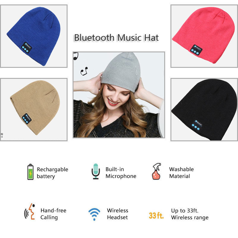 Wireless Bluetooth Music Smart Hat Cap Warm Beanie With Headphone Earphone Headset Mic(Red)