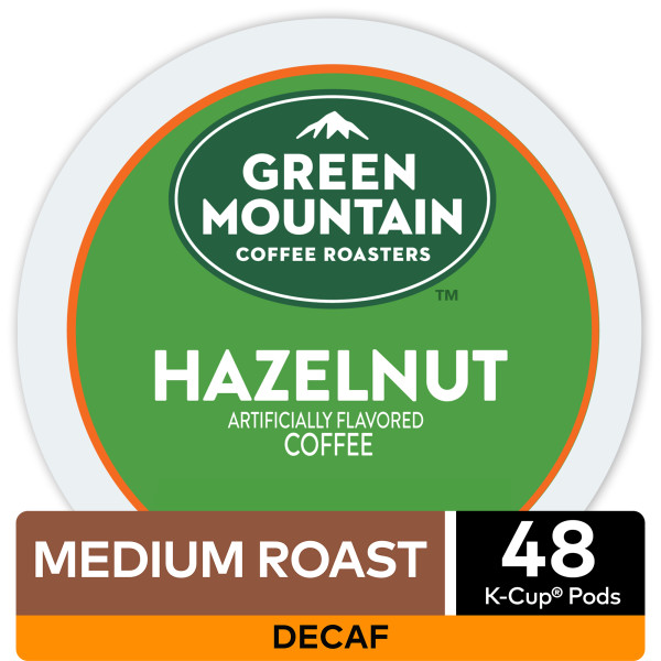Green Mountain Coffee Decaf Hazelnut Keurig K-Cup Coffee Pods, Light Roast, 48 Count
