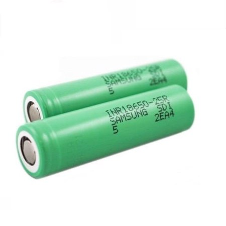 2PCS 100% Authentic Samsung 25R 2500mAh 3.7V High Drain Flat Top 18650 Rechargeable Battery