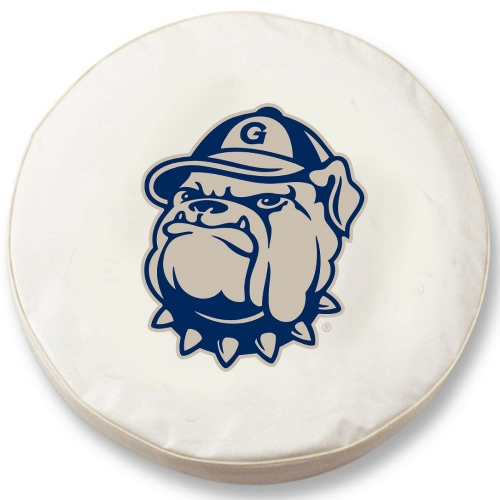 NCAA Tire Cover by Holland Bar Stool - Georgetown Hoyas, White - 30 L x 10 W