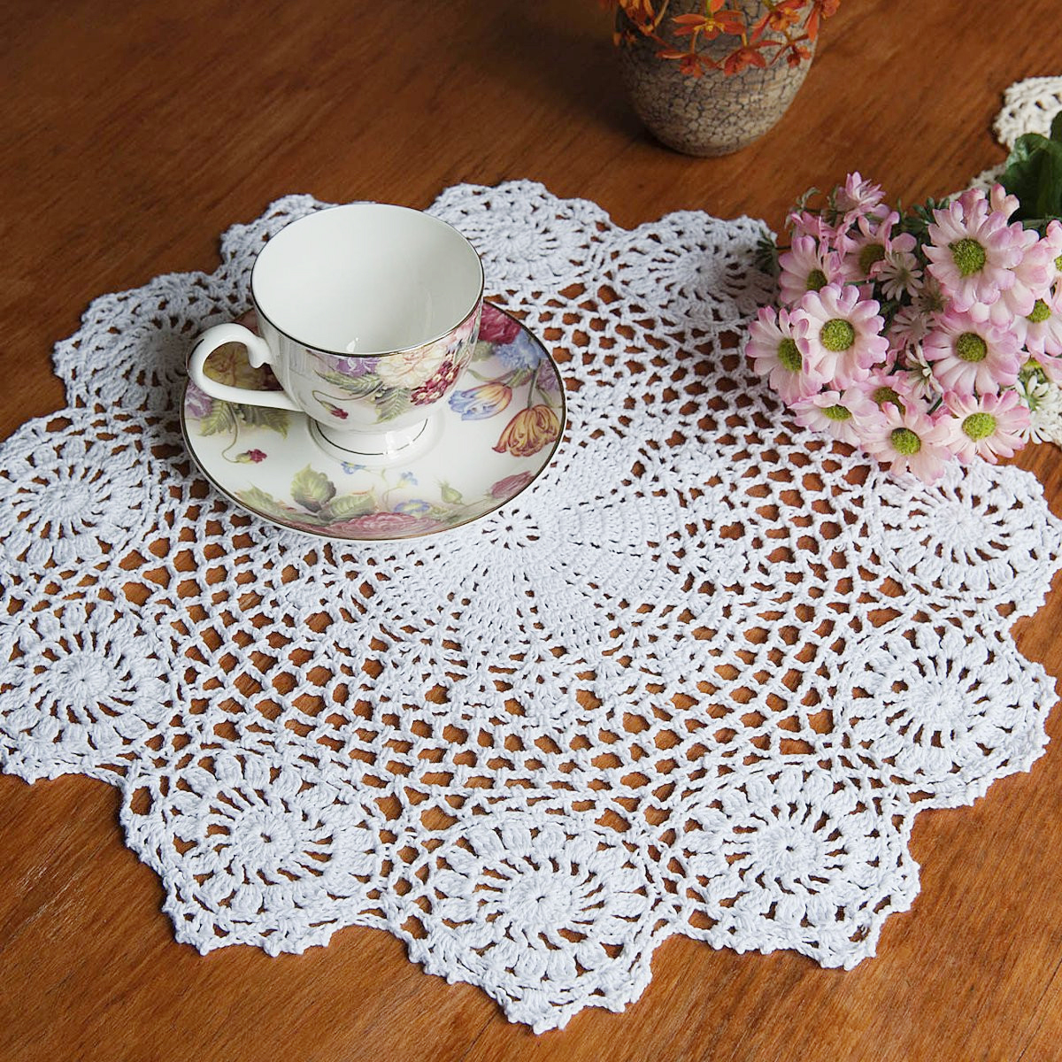 Meigar 14'' Handmade Crochet Doilies Lace Flower Tablecloth Cotton Doily Placemats Table Cover Mat Coasters Home Decor,Round,White