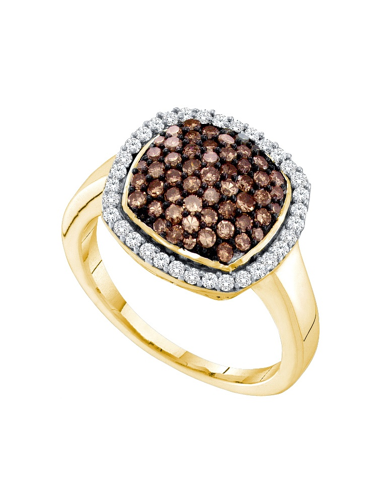 10k Yellow Gold Cognac-brown Colored White Natural Diamond Cluster Ring Unique size- 9.5 by
