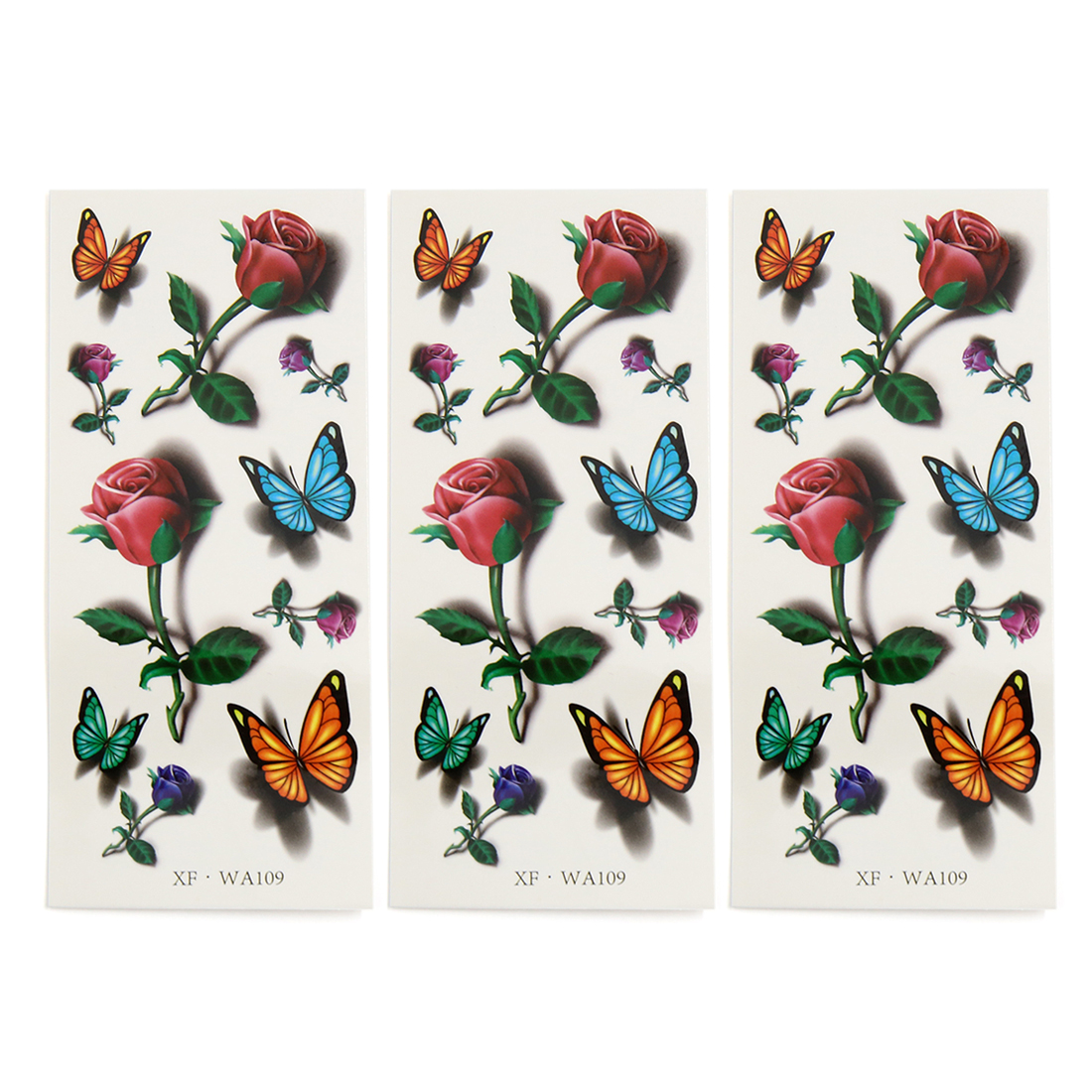 3 pcs butterfly rose printed temporary tattoo sticker neck body decal