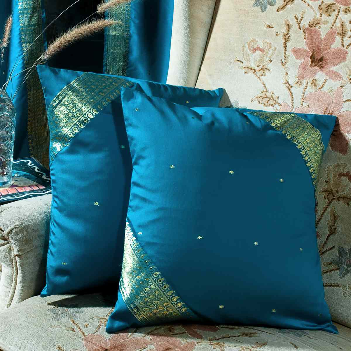 Turquoise Handcrafted Cushion Cover Throw Pillow Case Euro Sham 6 Sizes