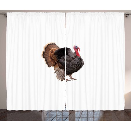 Turkey Curtains 2 Panels Set, Realistic Bird Picture Thanksgiving Day Family Dinner Theme Farm Animal Photo, Window Drapes for Living Room Bedroom, 108W X 90L Inches, Black Brown Coral, by Ambesonne ()
