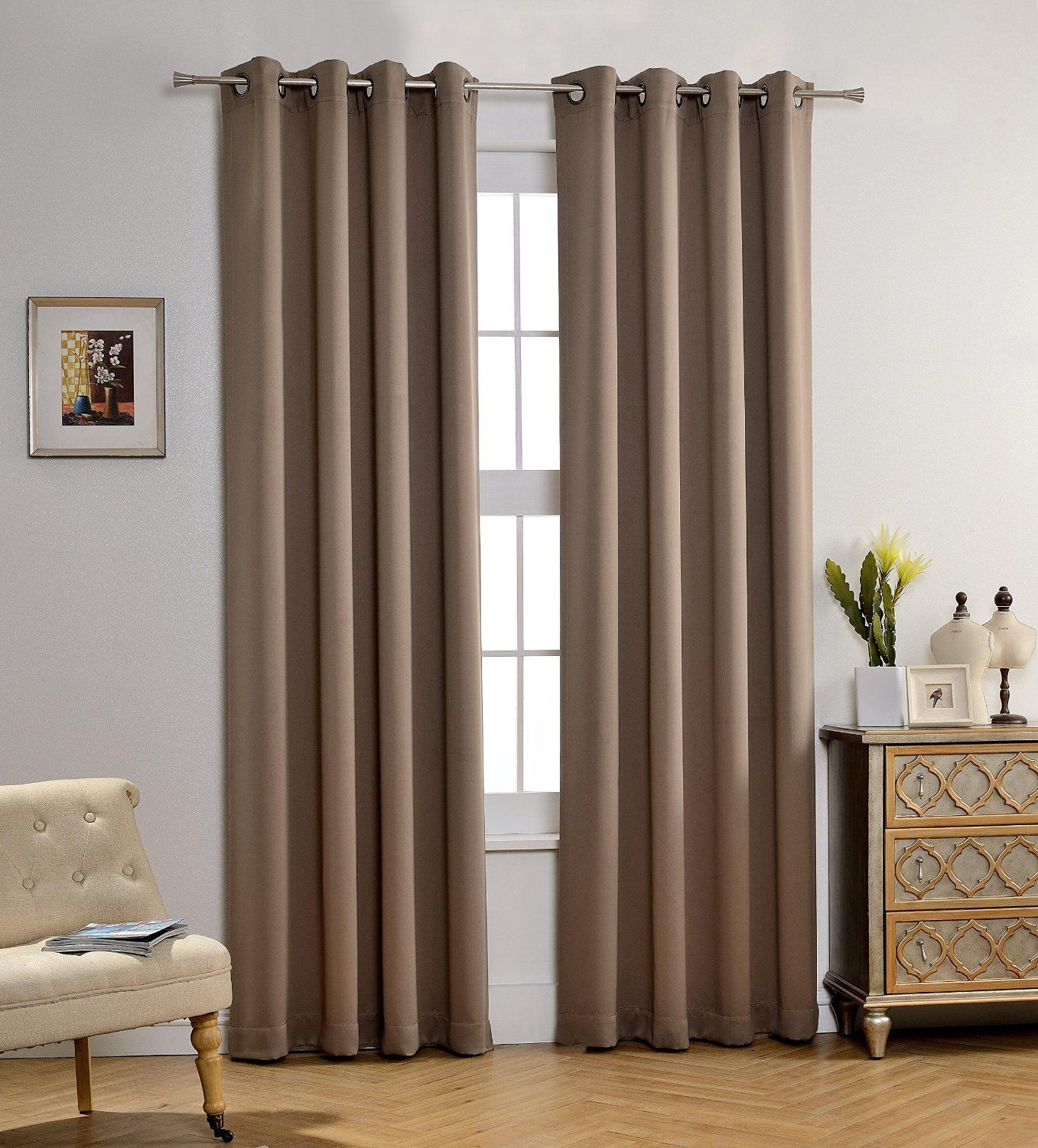 "Amy Solid Thermal Blackout Sun-Reflecting Shiny-Back Grommet Window Curtain Panel 84"" Long - Taupe"